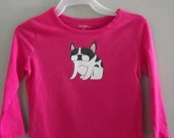 French bulldog pied on hot pink long sleeved girls tee