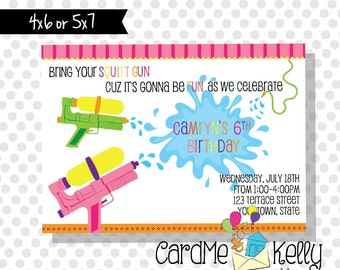 Printable Girl or Boy Squirt Gun Water Fight Pool Party Summer Party Invitation- Digital File