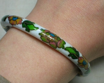Chinese Cloisonne Bangle Bracelet, White & Peach Floral, Hinged