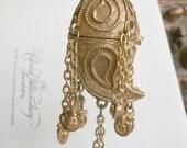 Estee Lauder Perfume Solid Collector necklace Compact Rare Bookpiece Azuree