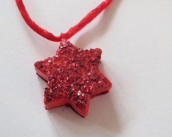 Tiny star necklace, valentine, love, you are my star, stars and stripes, red, for her, for mom