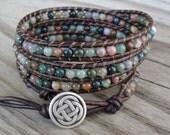 4x Leather Wrap Bracelet with 4mm Fancy Jasper Beads - Quad Wrap