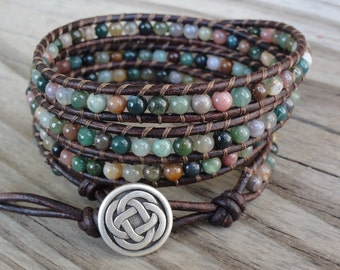 4x Leather Wrap Bracelet with 4mm Fancy Jasper Beads - Quad Wrap