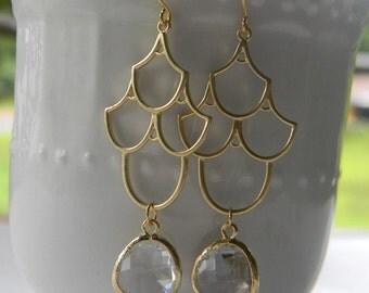 Clear Crystal  Chandelier Earrings in Gold, Bride, Bridal, Dangle Earrings