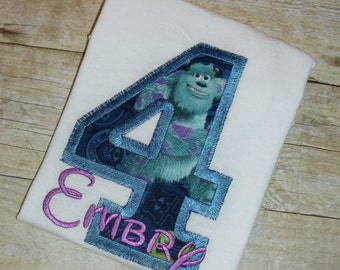 Design your own Letter or Birthday Number Monster character applique t-shirt  - Personalized with your choice of characters