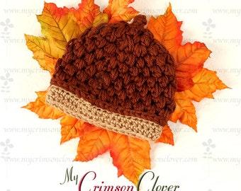 Pattern Crochet Baby Hat - Acorn Cap Hat