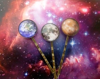 3 x Hair Clips Bobby Pins Moon Earth And Mars.