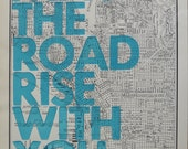 Seattle  /  May The Road Rise With You/ Letterpress Print on Antique Atlas Page