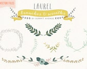 VECTOR FILES  Vintage Laurel & Wreath design elements - for personal or photography use - INSTANT download