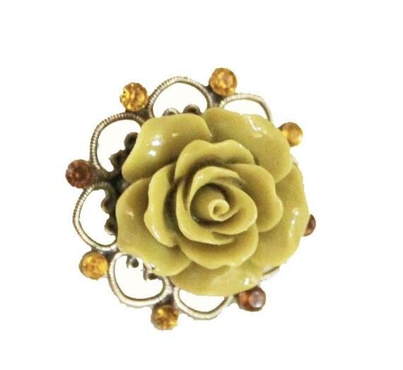 Adjustable ring, adjustable antique bronze ring, oval ring, Flower ring, filigree ring, metal ring