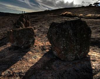 Shadows on a Hillside - nature landscape mountains rocks sunlight