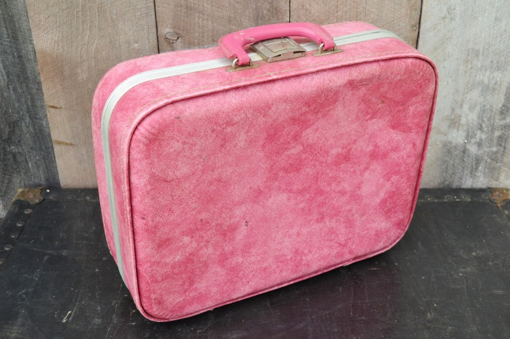 Pink Suitcase Small Vintage Luggage Marbled Pink Gray