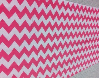 Hot Pink and  White Chevron Table Runner 90   x 16