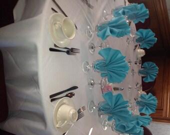Set of 12 Dinner Napkins in  Aqua Blue  Gabardine 19 x 19 Wedding Party Reception  Dinner