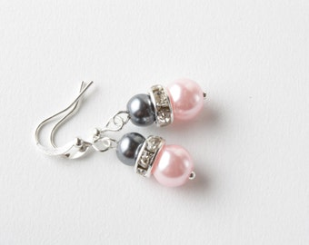 Pink and gray bridesmaid earrings - pink and gray jewelry - pink and gray wedding jewelry - bridesmaid gift - pearl earrings -Made in Canada