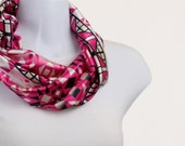 Hot Pink Scarf Spunky Silky Pink, Black, Egg Shell  and  Pearl White Geometric Design ~ SK179-S5