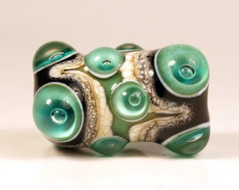 Large Teal, Black and Ivory Lampwork Focal Glass Bead
