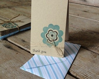 Blue Flower Thank You Cards - set of 6