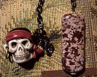 DISCOUNT!!! Pirates Skull with Chocolatey Jasper Drop (Blackbeard)  AARGH - Dowsing Pendulum