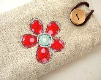 Embroidered red dotty flower and linen smartphone/ iphone / gadget case