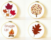 Counted Cross stitch Pattern Collection PDF. Deciduous Fall and Autumn patterns. Instant download. Includes easy beginner instructions.