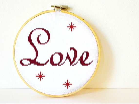 Counted Cross stitch Pattern PDF. Instant download. Love. Includes easy beginner instructions.