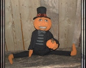 Primitive soft sculpted hand painted  pumpkin man rag doll HAFAIR HAGUILD OFG