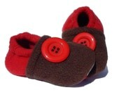 Fleece Slippers SALE Baby Toddler - Red & Brown - LittleTadpoleDesigns