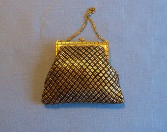 Vintage Art Deco Whiting Davis Black Gold Mesh Purse Wedding Bridal Party Prom Junior Attendant Flower Girl Gift Idea
