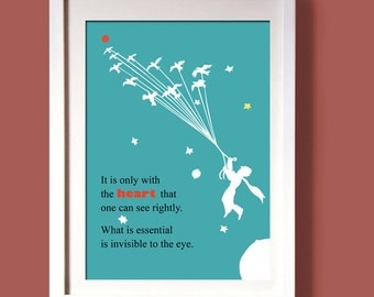 LITTLE PRINCE digital print,wall art decor, digital file, art poster quote, typography poster le petit prince