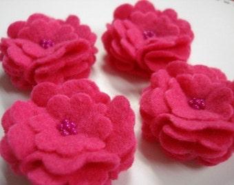Set of 6pcs handmade felt flower - hot pink2 (SCF)