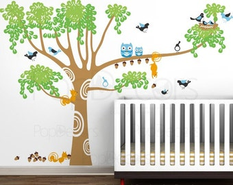 Baby Nursery Tree Wall Decals - Big Nursery Tree - Kids Wall Decals Squirrels Sticker Baby Room Owls Graphics