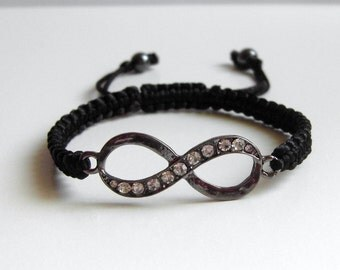 INFINITY Bracelet, Gunmetal Eternity Sign, Dazzling Crystal, Macrame Bracelet, Adjustable Bracelet, Harmony Bracelet