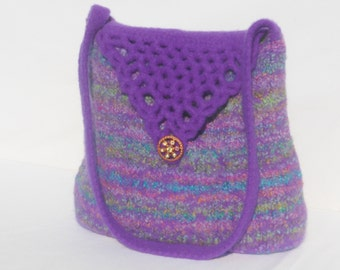 Clearance 30% off Purple and Pastels Hand Knit Felted Wool Handbag Fiber Art Purse with Crochet Open Work Flap