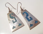 Vintage Taxco Sterling Silver & Crushed Turquoise Colored Stone Inlay Earrings Mexico Signed TC-105 Geometric Aztec Style Design Pierced