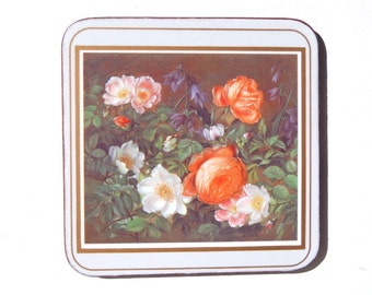 Vintage Pimpernel Coasters Classical Rose Cork Backed Hardboard Deluxe Finish Coasters Boxed Peachy Pink Flowers Set of 6 Made in England