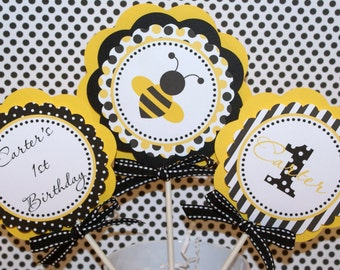Bee Birthday Centerpiece, Bumble Bee Centerpiece, Bee Party Centerpiece (BYB1) (Yellow, Black & White) by The Party Paper Fairy