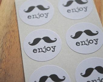 """Mustache ENJOY Stickers - Kraft or White round labels/seals - {set of 24} 1"""""""
