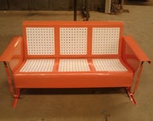 Basketweave Pattern Vintage Metal Porch Glider Restored Powdercoated Coral