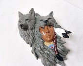 Native Indian w Wolf head piece - Wall Hanging