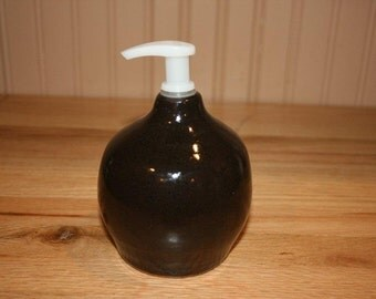 Pottery soap or lotion dispenser, handmade, eggplant color