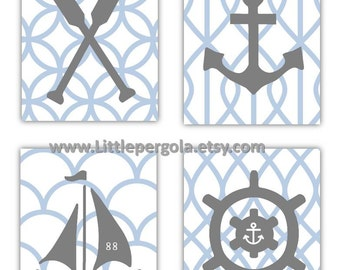 Nautical Nursery Wall Art, 4- 8x10 prints, CHOOSE YOUR COLORS cute for Nursery toddler room, or any other Space