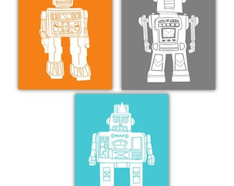Robot Art for Kids // Robot Nursery Wall Art // Robot Decor // Robot Wall Art // Robot Toddler Decor // Robot Art // 3-8x10 PRINTS ONLY