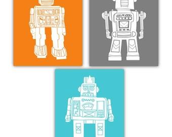 Robot Art for Kids // Robot Nursery Wall Art // Robot Decor // Robot Wall Art // Robot Toddler Decor // Robot Art // 3-8x10 PRINTS ONLY
