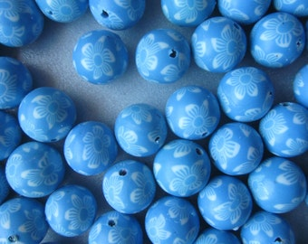SALE - Light Blue Polymer Clay Beads 14mm 8 Beads