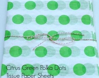 10 sheets...Citrus Green Polka Dots, Lime Green Polka Dots, Tissue Paper Sheets, White tissue Paper, Lime Green Polka Dots, Tissue Paper
