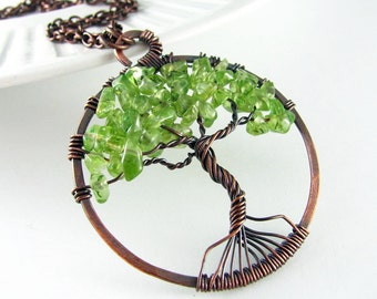 Tree Of Life Necklace Wire Wrapped Pendant Peridot Necklace Copper Jewelry Wire Wrapped Jewelry Tree Necklace