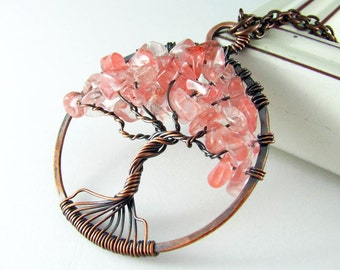 Tree Of Life Pendant Wire Wrapped Jewelry Cherry Quartz Copper Necklace Wire Wrapped Pendant Pink Tree