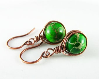 Copper Earrings Wire Wrapped Earrings Emerald Jasper Semiprecious Stone Copper Jewelry Wire Wrapped Jewelry
