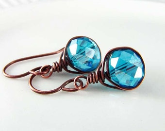 Wire Wrapped Earrings Copper Earrings Wire Wrapped Jewelry Blue Crystal Earrings Copper Wire Wrap